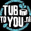 Transparant logo van Tubtoyou met witte letters