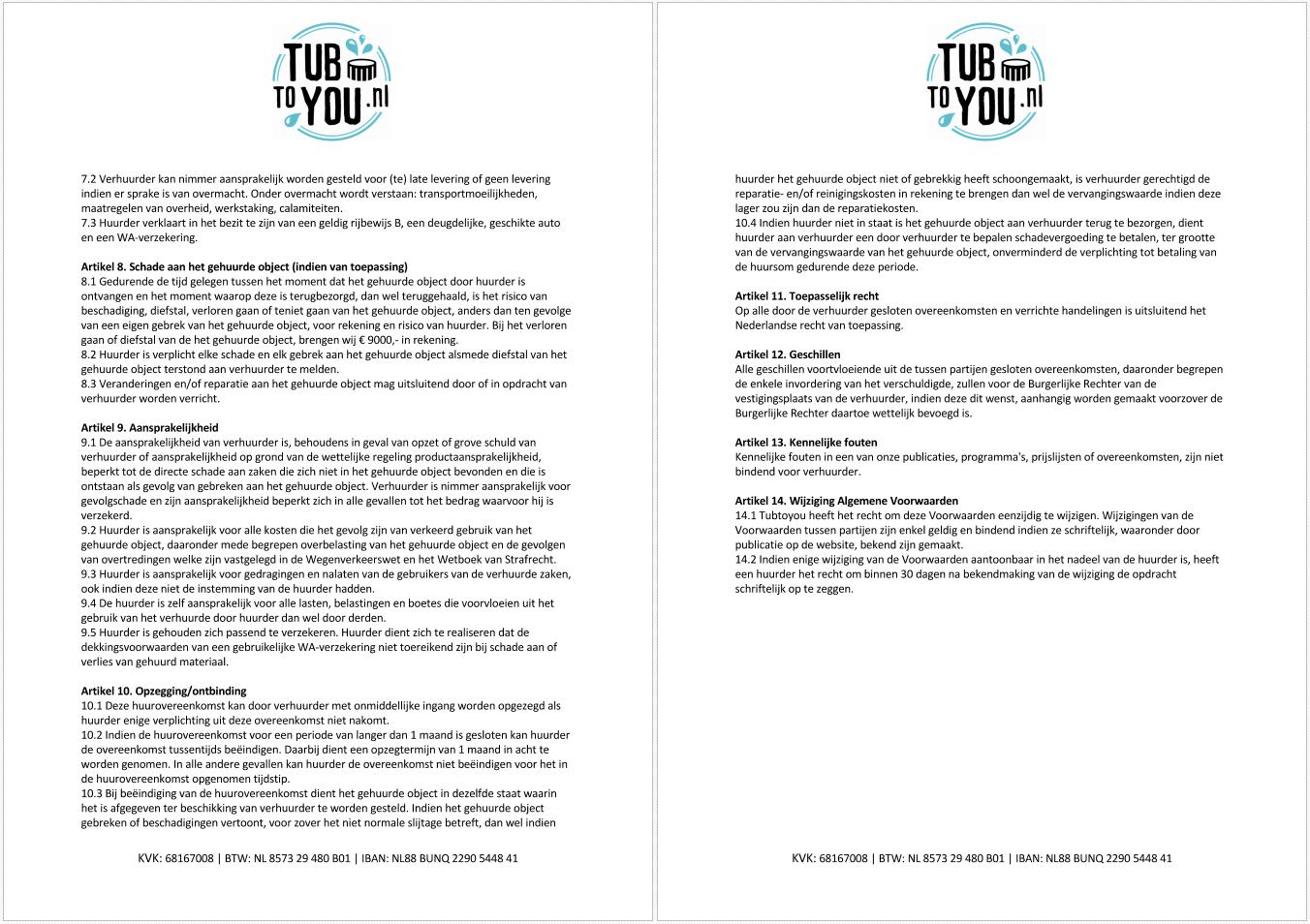 Algemene voorwaarden van Tubtoyou