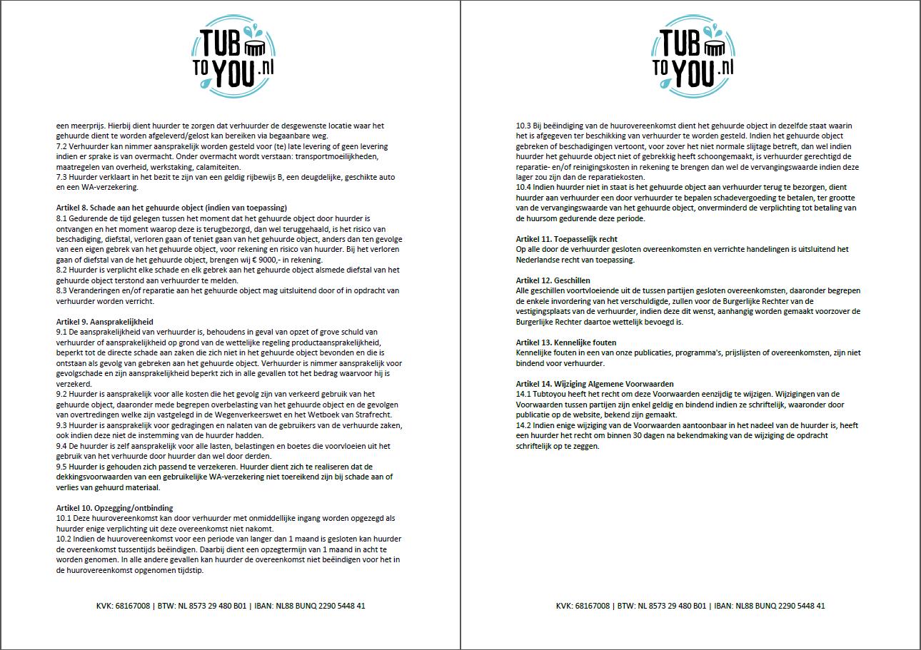 algemene voorwaarden van tubtoyou deel 2